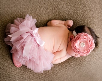 Baby Fullchiffon ruffle diaper cover/ bloomer and SALE PRICED satin flower lace headband