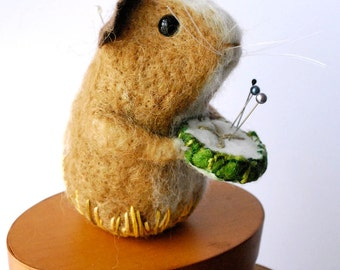 Original Handmade Needle Felted Guinea Pig with slice of Cucumber  Pin Cushion