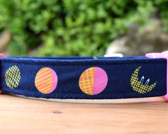 """Moon Dog Collar in Navy Blue, 1"""" wide, Cute Fabric Collar for Dogs, Made in Australia"""