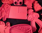 10 Tupperware Red Hard Plastic Cookie Cutters