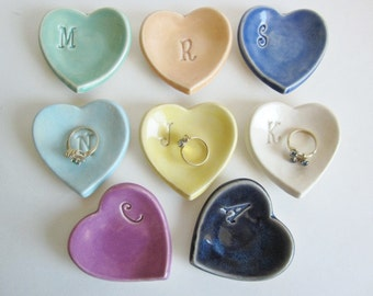 Bridesmaid gifts, porcelain heart dish, ring holder, Wedding party gifts, Made to order