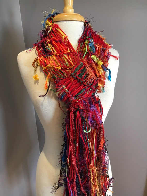 Hand Knit Artistic Fringe Scarf - Rainbow Brights - Dumpster Diva Knit Scarf - teen and petite scarves, handmade scarves, rainbow scarf