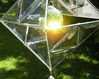 Stained Glass 3D beveled and crystal Sun Catcher