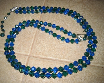 Vintage Aurora Borealis AB Blue Green Crystal Double 2 Strand Necklace