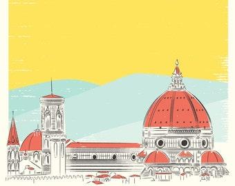 Travel poster, Florence Cathedral art print , Italy Art, Florence Print, Italy Wall Art, Florence Poster, Modern Decor, Minimalist Art
