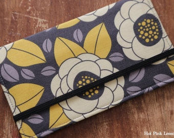 Cloth Checkbook Cover -Granite Bloom -