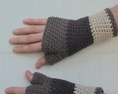 men's cotton fingerless gloves/ shades of chocolate brown crochet