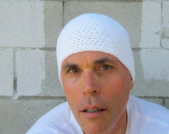 cotton kundalini cap/ simply white crochet