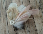 Wedding Hair Piece Ivory, Blush, Champagn, Feather Fascinator Bridal Hair Comb brides accessory hairpiece pearl