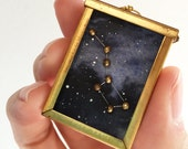 Custom Order for Erica: Handmade Ursa Major (Big Dipper) Constellation Necklace in Gold / Brass & Silver w/ a Watercolor Galaxy Background
