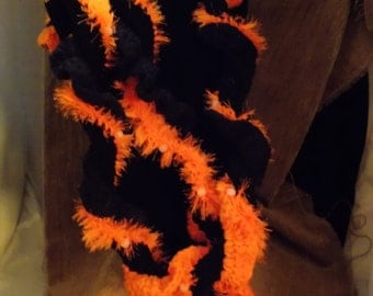 Black & Neon Orange Twirly Crocheted Scarf with Glow in the Dark Beads