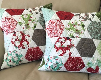 Quilted Christmas Pillows, Set of Two Quilted Throw Pillows - 16 inch - Blitzen Hexagon Pillow, Snowmen Pillows, Quiltsy Handmade