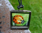 Ladybugs Lady Bug Necklace Postage Stamp Valentine Pendant Polka Dots Handmade Jewelry Garden Bugs Lady Luck Supernatural Superstition