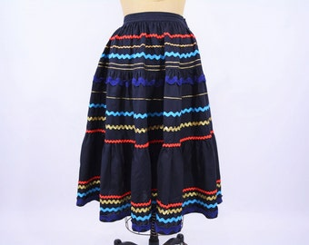 1950s full skirt | black ric rac country full high waisted skirt | vintage 50s skirt | W 24""