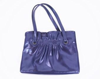 1960s purse vintage 60s navy blue faux leather cinch detail double strap handbag