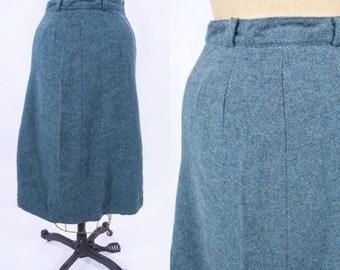 """1970s skirt vintage 70s teal green high waist a line wool skirt S W 25"""""""