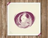 Bird girl - Cute illustration for home decor - print 8 x 8