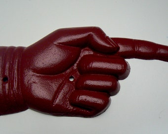 Finger Pointing Hand Right this Way Directional Cast Iron Wall Door Decor Colonial Heritage Red