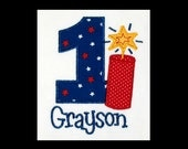 Custom Personalized Applique Birthday Number with FIRECRACKER and NAME Shirt or Bodysuit - Red, White, and Navy Blue Stars Fabric and Yellow