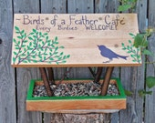 Bird Feeder - Covered Bridge Style Persnickety Bird Feeder - Birds of a Feather Cafe w/Songbird Silhouette - Reclaimed Wood & Branches