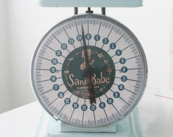 Sani Babe Light Blue Metal Nursery Scale Baby Scale