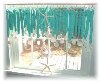 Nod To Turquoise  Turquoise Blue Driftwood Beachy Keen   Window Treament  Valance Curtain Bathroom Kitchen Dining room