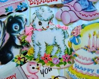 Vintage Kitsch Lamb Birthday Cakes Dennison Gummed Seals Stickers Reginas Collection N0 27