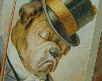 Vintage Steampunk Edwardian Bull Dog Top Hat Vintage Paper Playing Cards