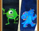 Custom Disney Clothing  Monsters Inc  2 Character jeans   long jeans, capri,or shorts, sizes  24  m, 2 to 12