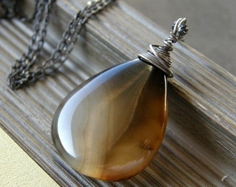 Summer Sale Black and Brown Agate Necklace, Stone Teardrop Necklace