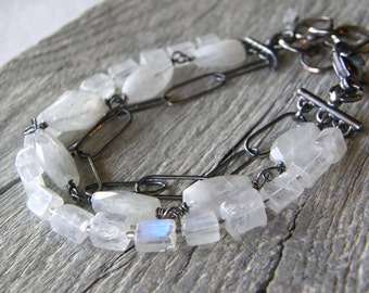 Multi-Strand Moonstone Bracelet, Layered Stone Bracelet, Large Link Sterling Silver Chain