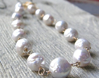 Not Your Mothers Pearls, Large Pearl and Gold Chain Necklace, Bridal Necklace