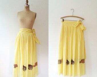 vintage yellow skirt / Novelty print skirt / Aquarium skirt