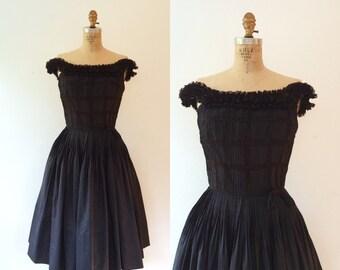 1950s dress / 1950s cotton & lace dress / Helenas dress