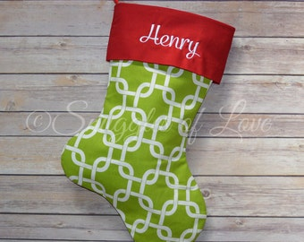 Green Holiday Christmas Stocking - Green Geometric Stocking - Green Link Stocking - Embroidered Stocking - Green Personalized Stocking