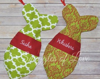Personalized Cat Stockings - Fish Shaped Stocking for Cats - Embroidered Cat Christmas Stocking - CHRISTMAS STOCKING for CATS - Pet Stocking