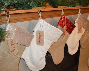 Personalized Stockings - Personalized Christmas Stocking SET of 6 STOCKINGS - Handmade Burlap, Minky and Sequin Stockings