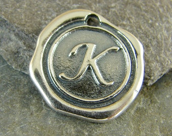 Sterling Silver Round Wax Seal Pendant - Letter K - Artisan Sterling Silver Monogram - Initial Pendant - Letter Charm - rws