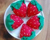 Set of 5 Felt Strawberries