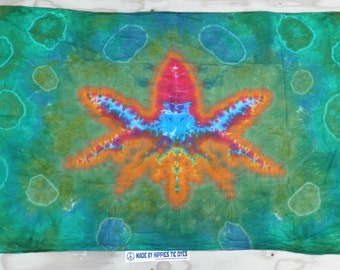 "Cannabis Leaf Tie Dye Tapestry #38 (Dharma Trading Co. Size 44"" x 72"") (A Series of 420)"