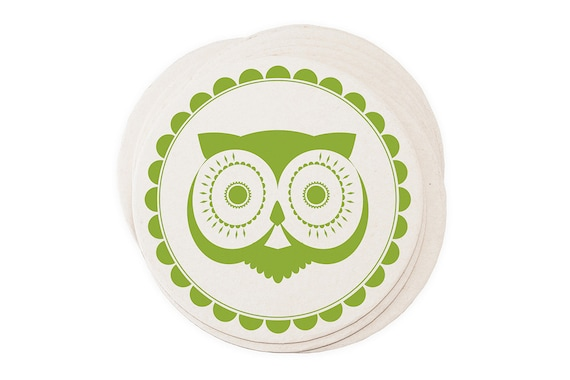 Eco Coasters Retro Owl Letterpress - Vintage Green Recycled
