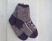 Handknitted norwegian socks in Purple and beige for children
