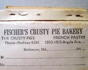Vintage 50's Bakery Order Book/ ReceiptBook/Paper Ephemera/Sales Booklet/Fischer's Crusty Pie Bakery/French Pastry/Craft Supplies/Prop