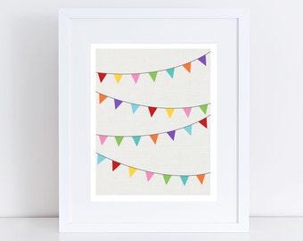 colourful bunting art print - flags, nursery picture, children's decor, children's art, bright, fun, room decor, wall art, rainbow, banner
