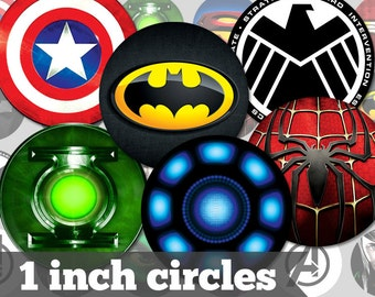 Super Heroes - 1 Inch Circles - 18 Unique Images - Digital Collage Sheet - Jewelry Supply, Cabochon, Bottle Caps - INSTANT DOWNLOAD