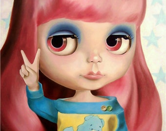 Blythe Doll art print  - pastel hair care bear girl