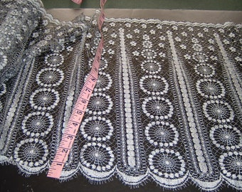 Vintage SILVER Leavers lace trim 16 inches wide 6 yds (952)