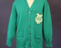 70's BAND SWEATER/CARDIGAN in emerald green