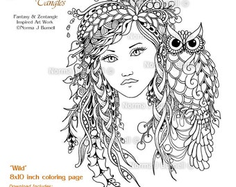 wild woodland fairy owl fairy tangles adult printable coloring sheet page by norma j burnell 8x10