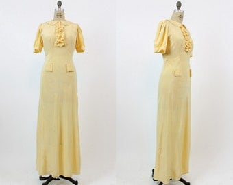30s Nightgown Small Medium / 1930s Vintage Slip Dress Silk / Fairy Ruffle Lingerie
